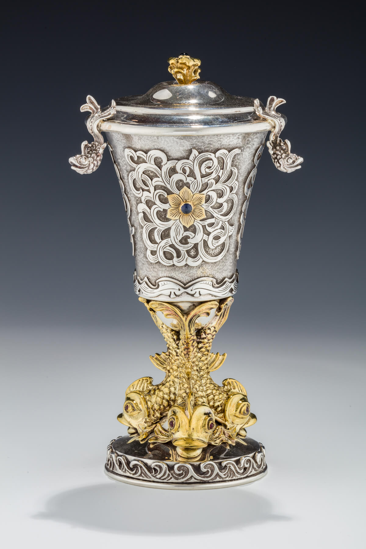 128. A Sterling Silver Covered Kiddush Goblet by Yoel Rivlin