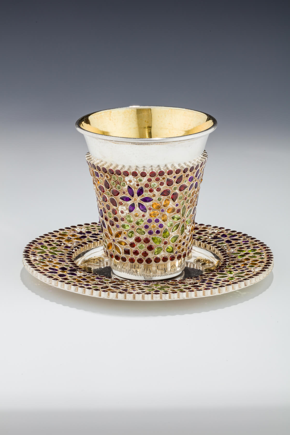 116. A Gem-Encrusted Kiddush Cup and Underplate by Dekel Aviv