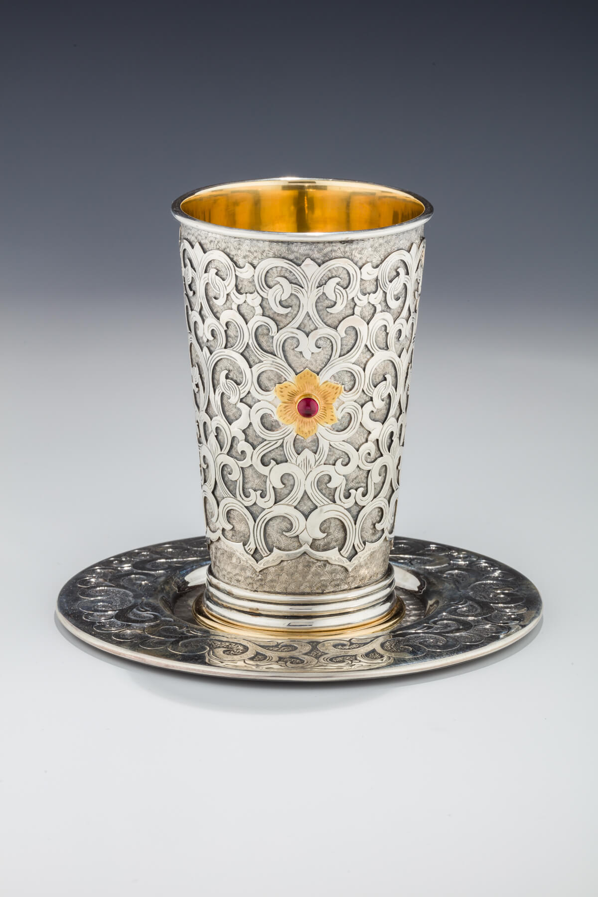 129. A Sterling Silver Kiddush Beaker by Yoel Rivlin