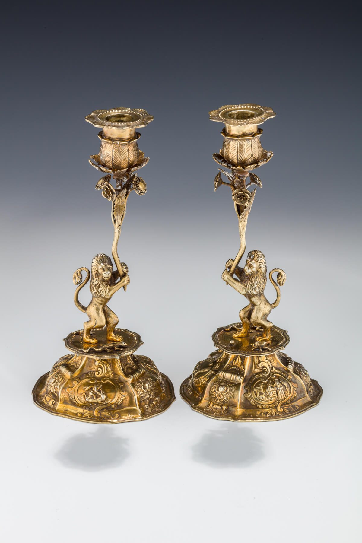 096. A Pair of Silver Sabbath Candlesticks