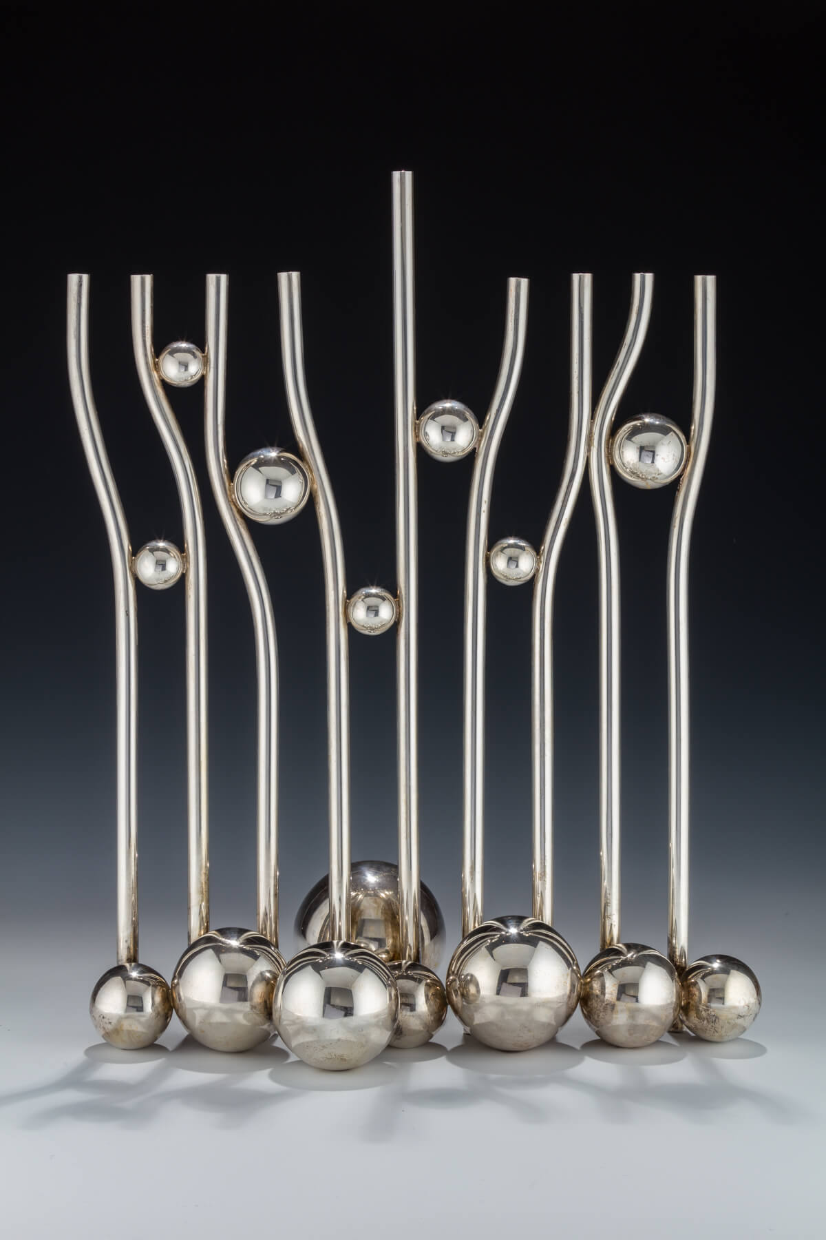 119. Sterling Silver Chanukah Menorah by Arie Ofir