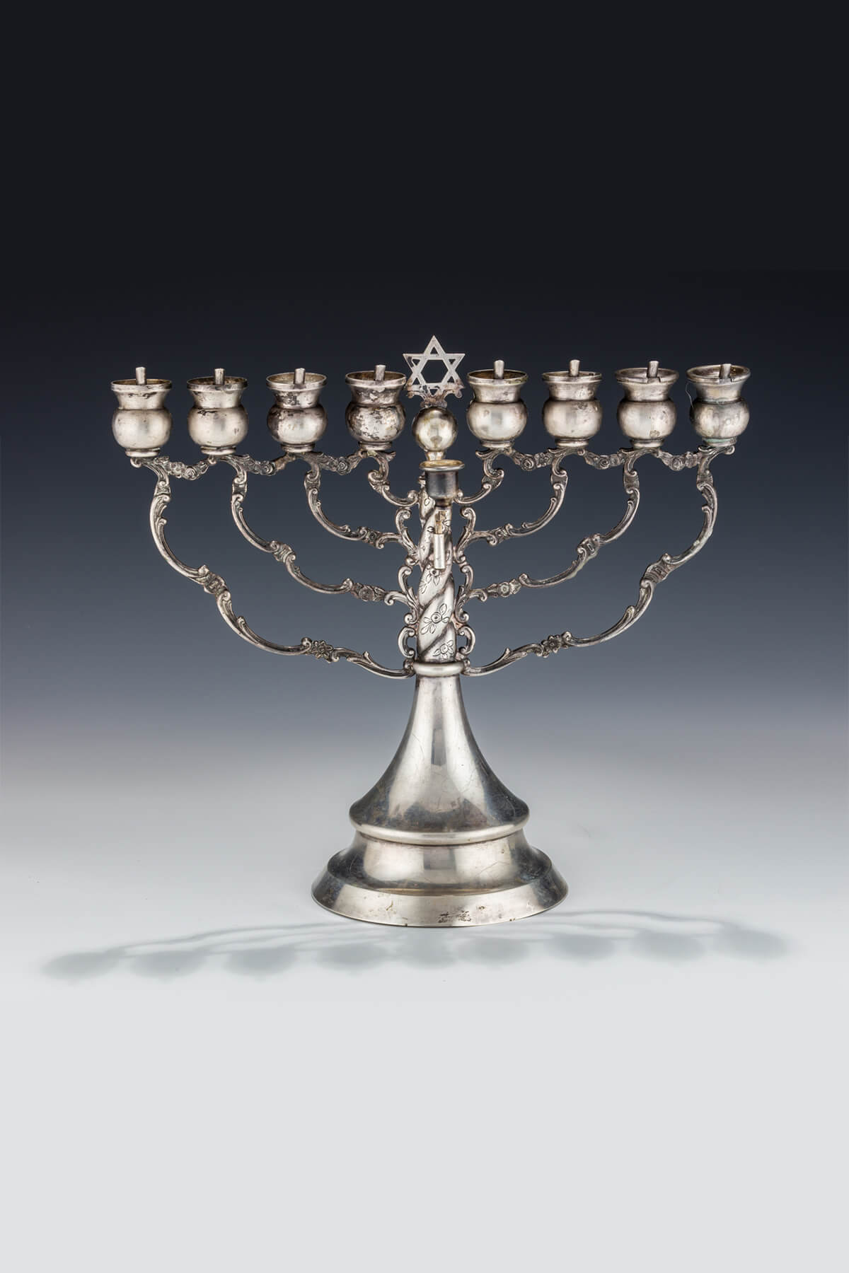 074. A Large Silver Chanukah Menorah by Posen