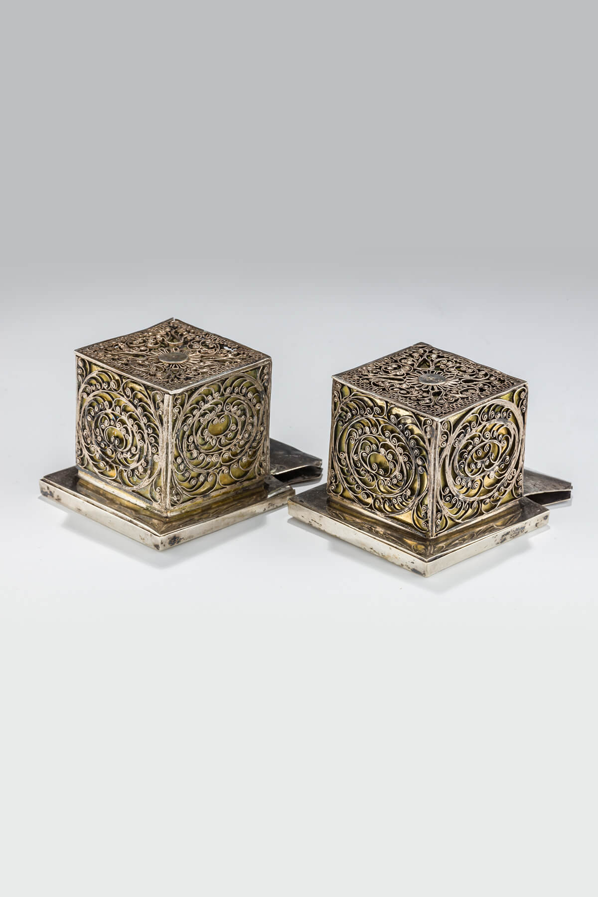 102. A Large and Magnificent Pair of Silver Tefillin Cases