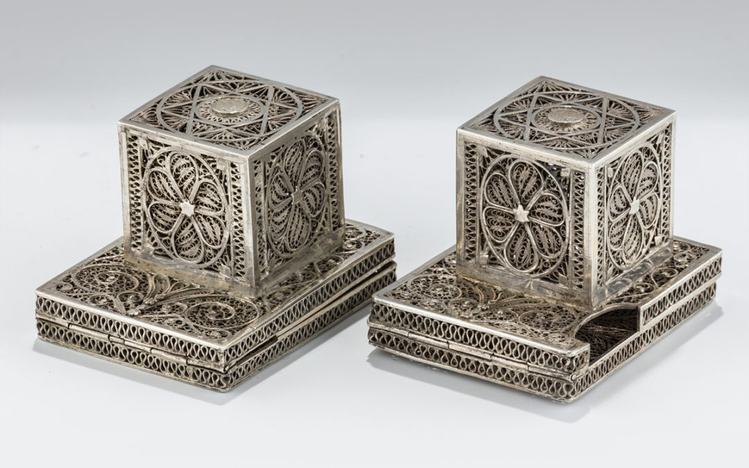 088. An Early Pair of Silver Tefillin Cases by Bezalel