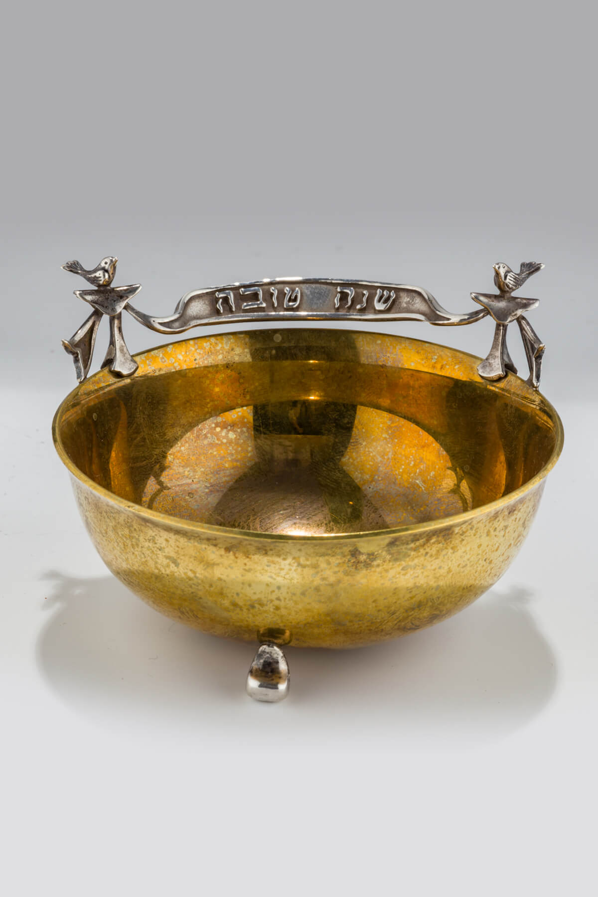 125. A Sterling and Brass Honey Dish by Dudek Swed