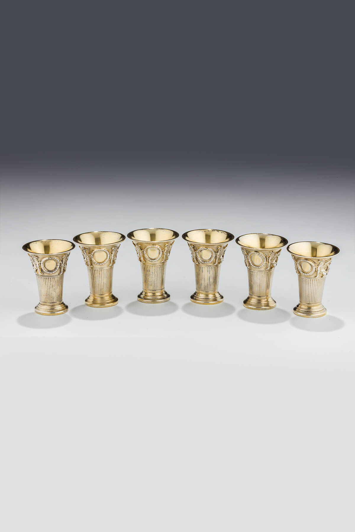 047. Six Gilded Silver Kiddush Beakers by Lazarus Posen