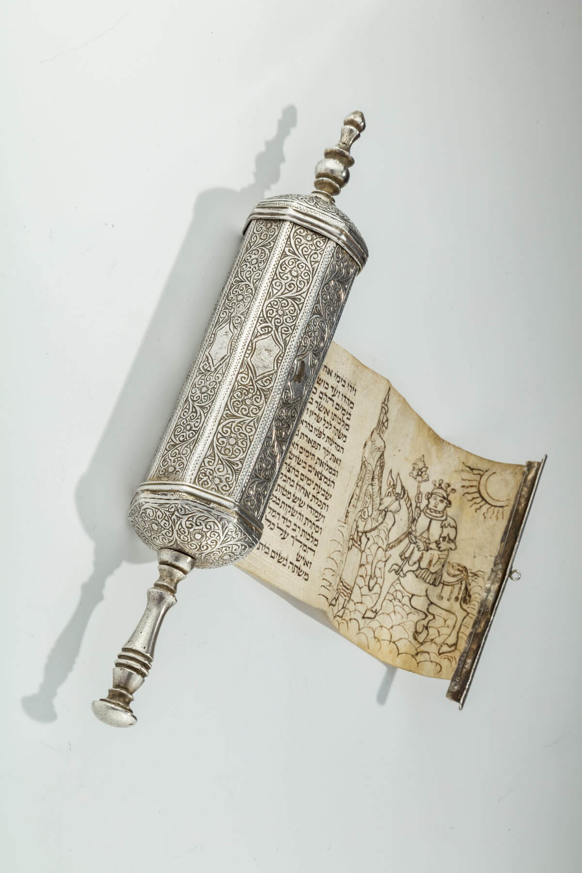 081. A Silver Megillah Case with Original Megillah