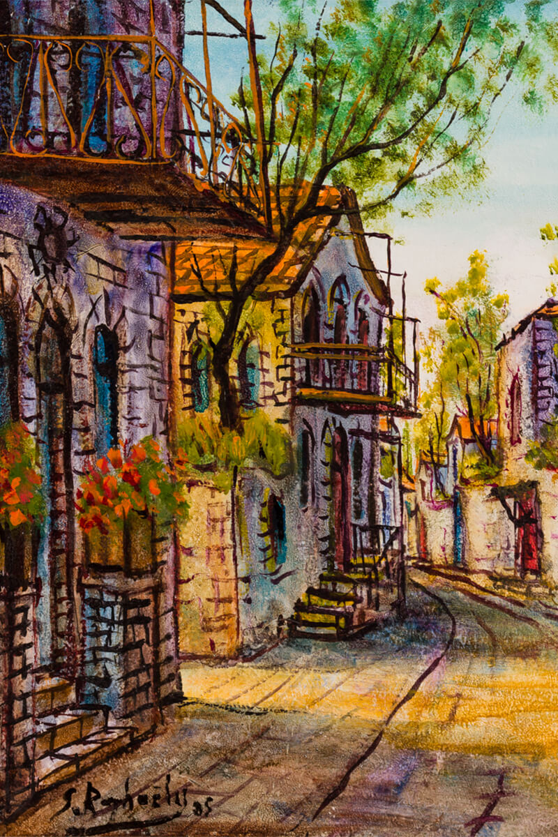 "157. Oil on Canvas by Zvi Raphaeli: ""Israeli Village Scene"""