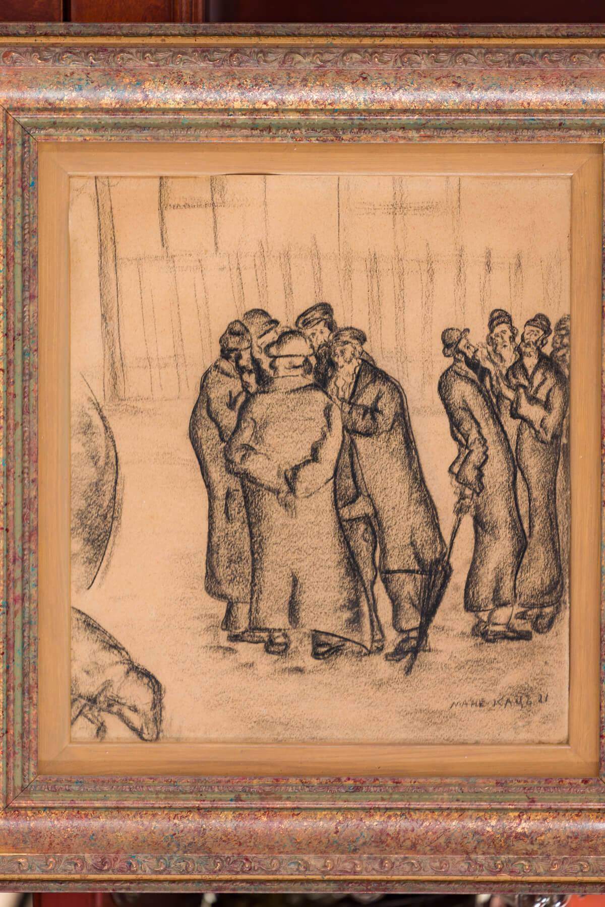 "159. Charcoal Drawing by Mane Katz: ""Chassidic Men in Conversation"""