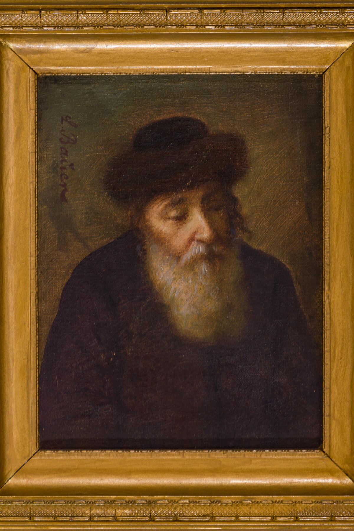 "153. Oil on Board by L. Bauer: ""Chassidic Man with Shtreimel"""