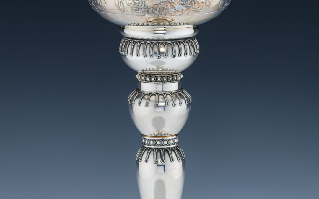130. A Monumental Sterling Silver Kiddush Cup by Yaakov Yemini