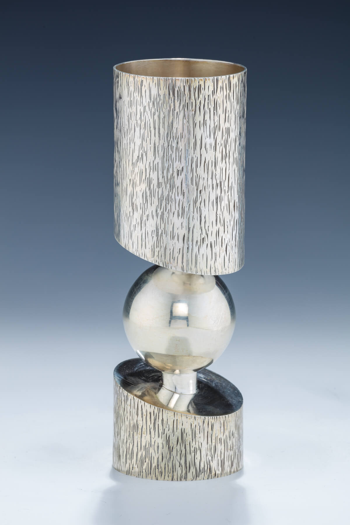 147. A Large Sterling Silver Kiddush Goblet by Carmel Shabi