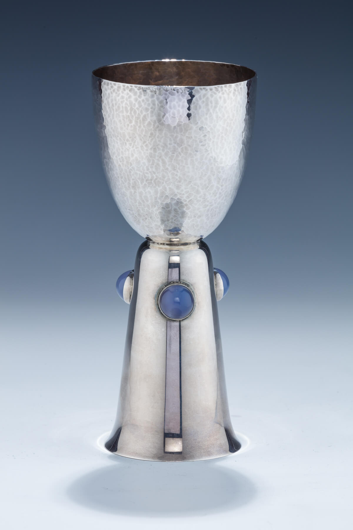 144. A Hand Hammered Sterling Silver Kiddush Goblet