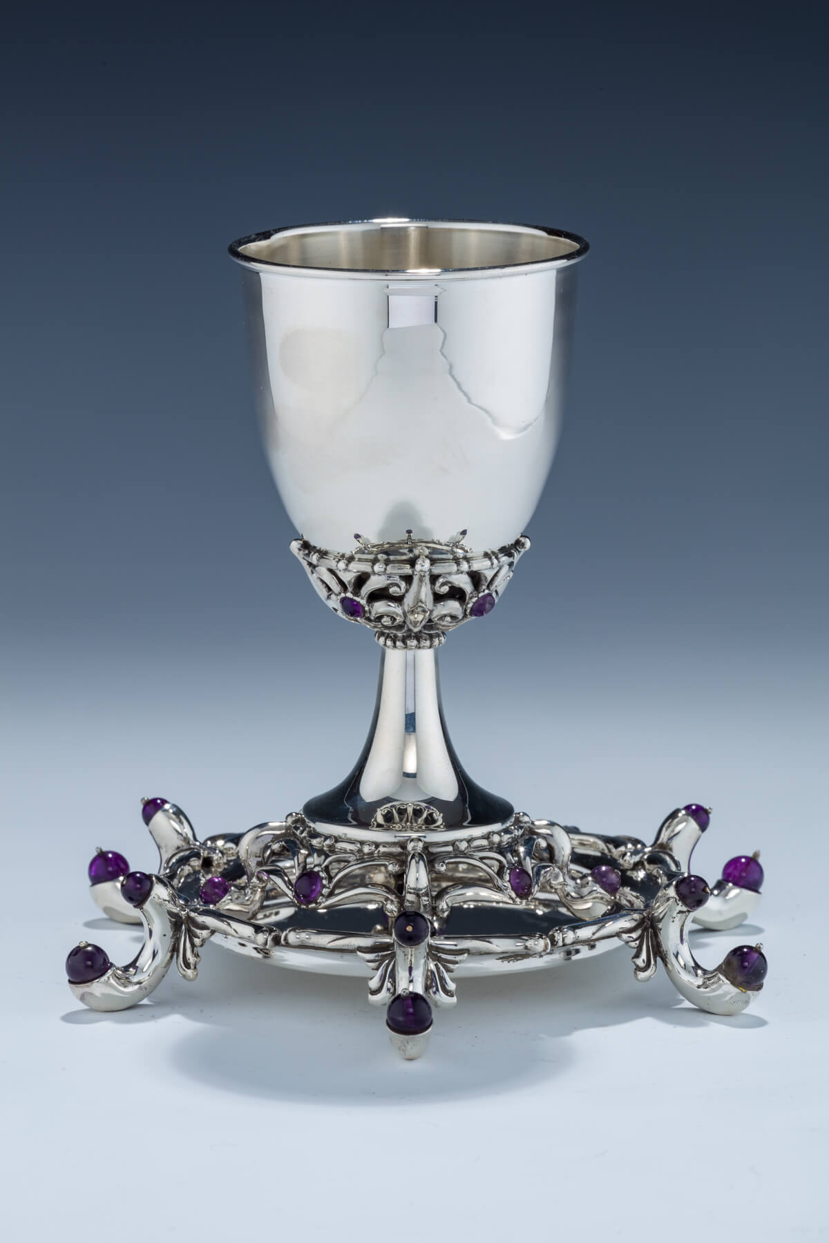 134. A Sterling & Amber Kiddush Goblet & Underplate by Josef Rodjoro