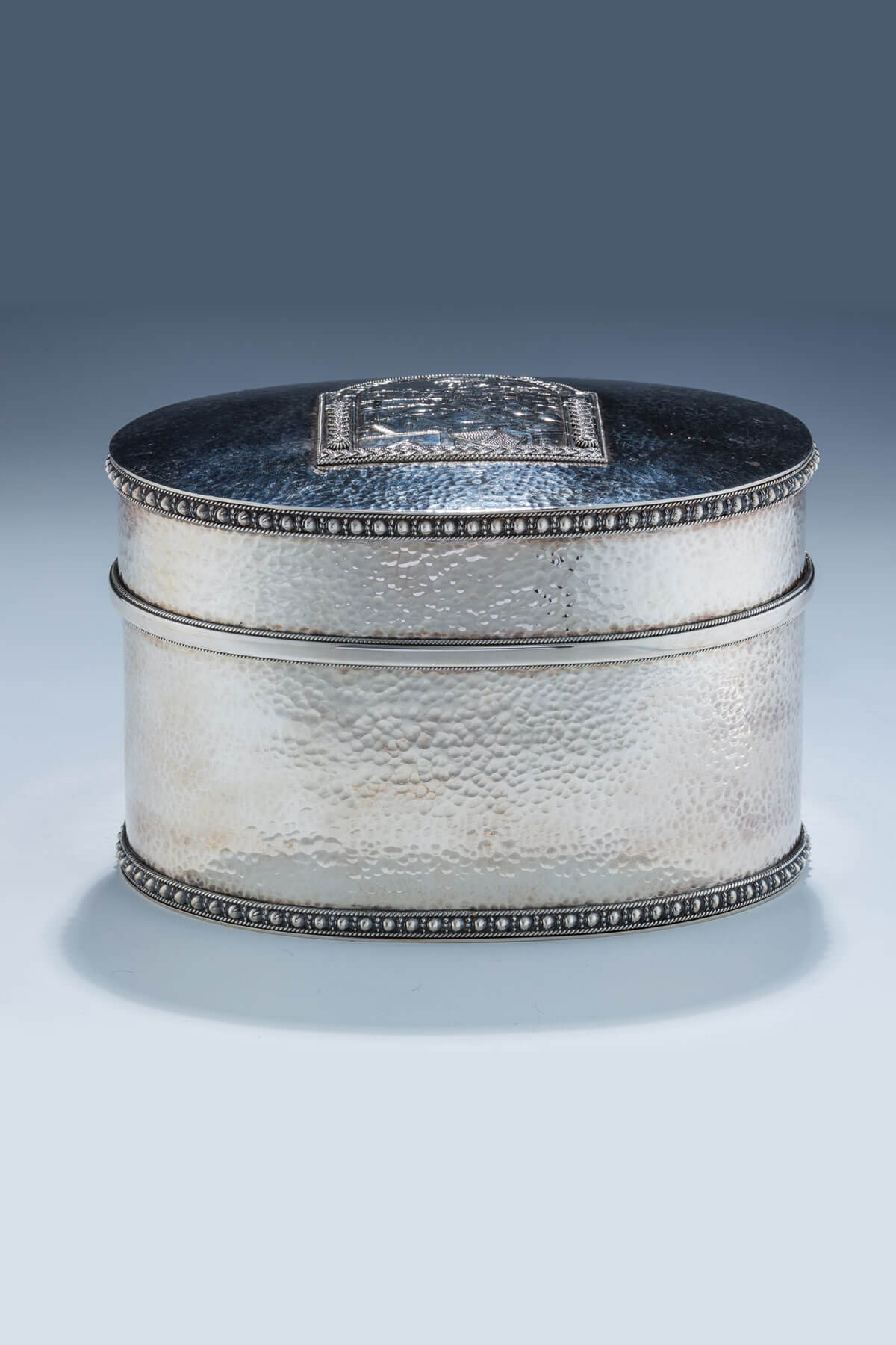 158. A Sterling Silver Etrog Container by Yakov Yemini