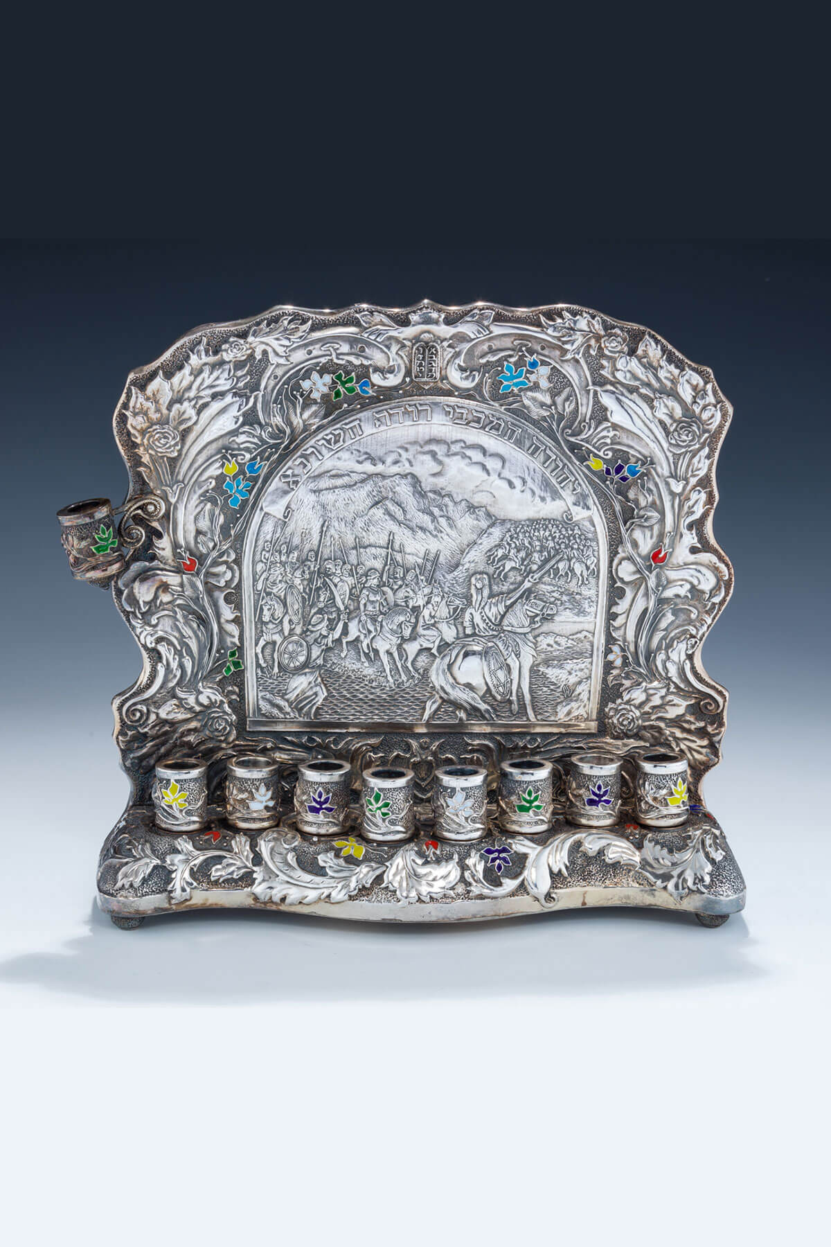 152. A Silver And Enamel Chanukah Lamp by Henryk Winograd