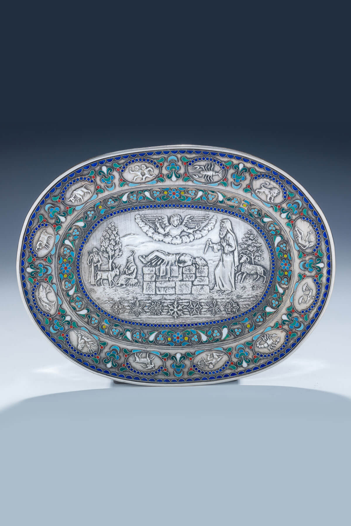 153. A Silver And Enamel Pidyon Haben Tray by Henryk Winograd