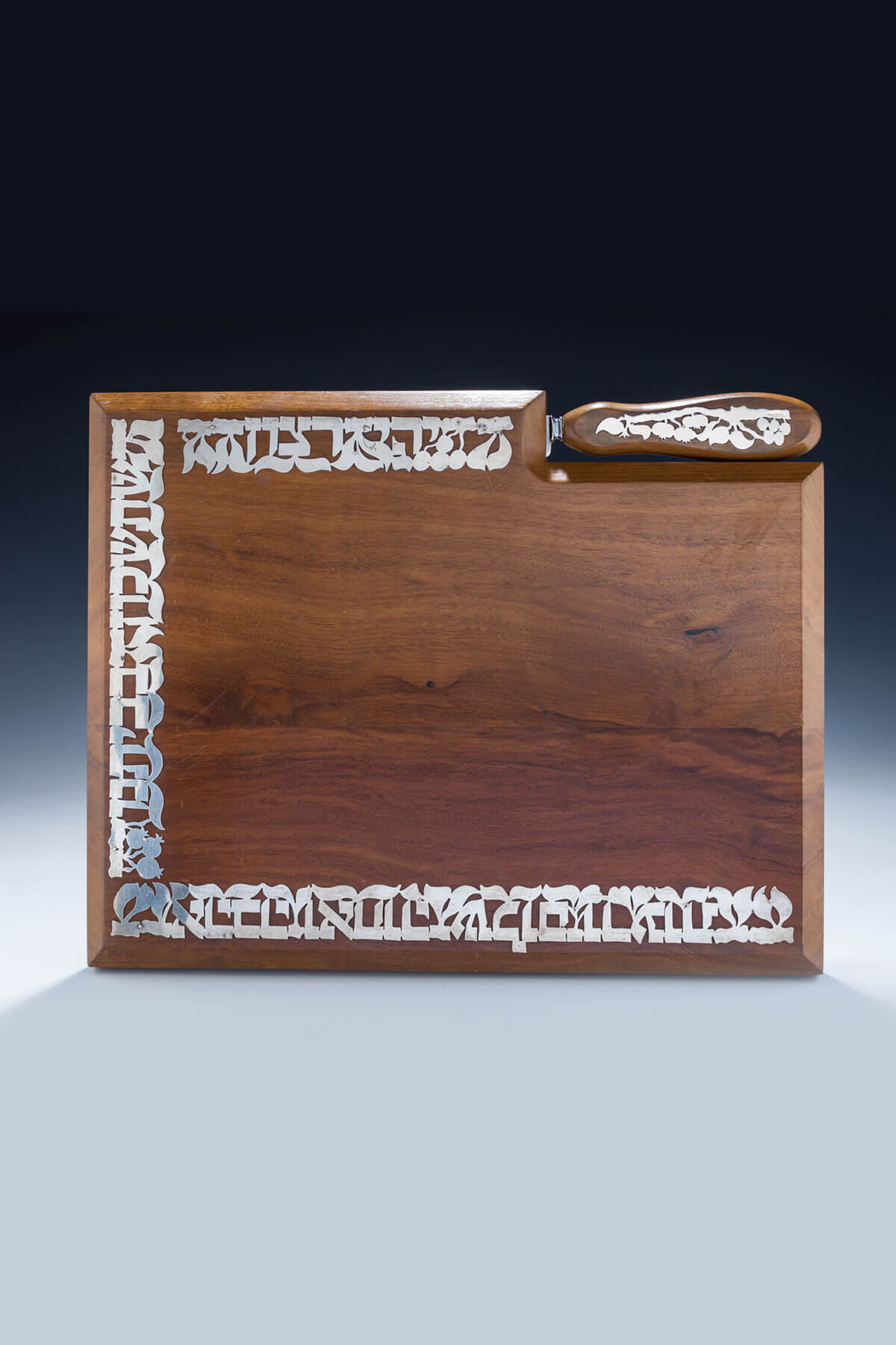 149. A Massive Mahogany And Sterling Silver Challah Board And Knife