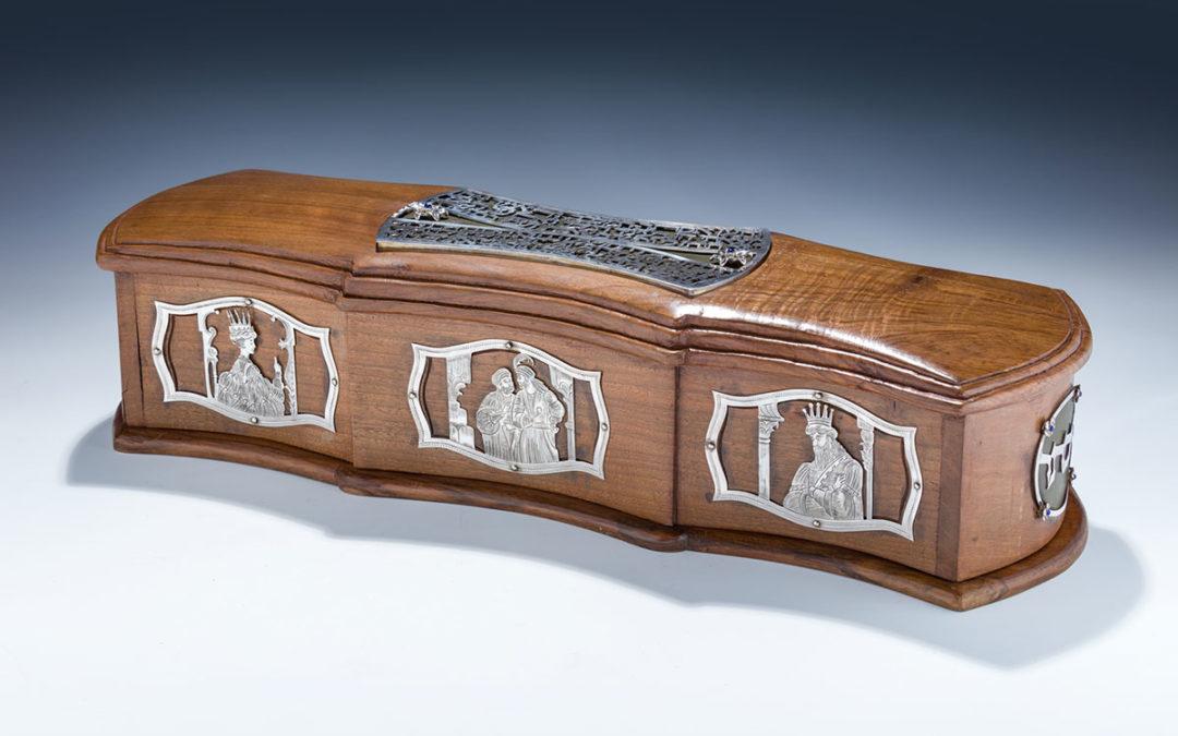 138. A Hand Made Wooden And Sterling Megillah Case by Dekel Aviv