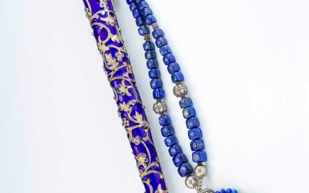 128. A Silver And Enamel Torah Pointer by Dekel Aviv