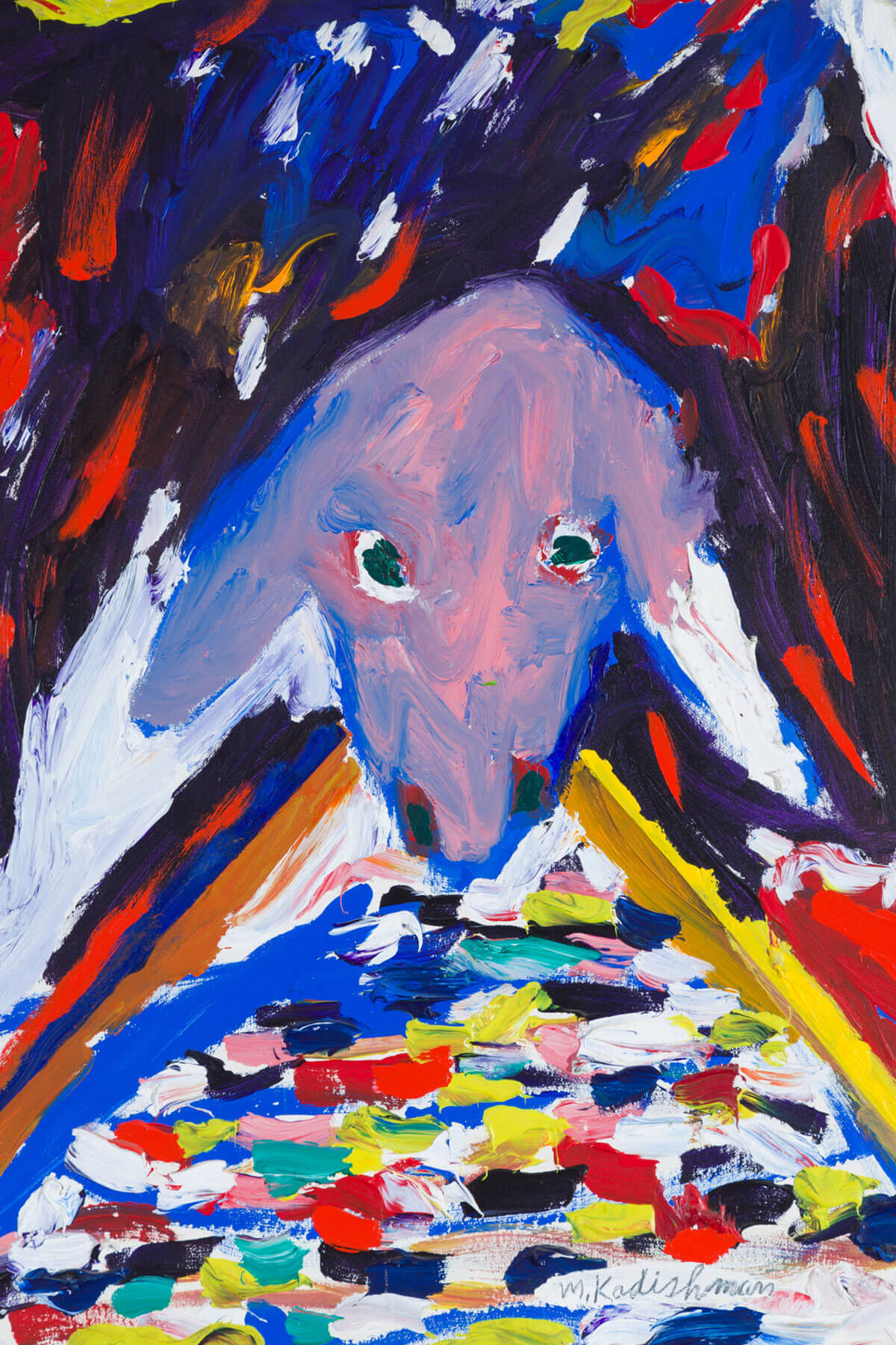 160. Abstract Sheep's Head by Menashe Kadishman (1990)