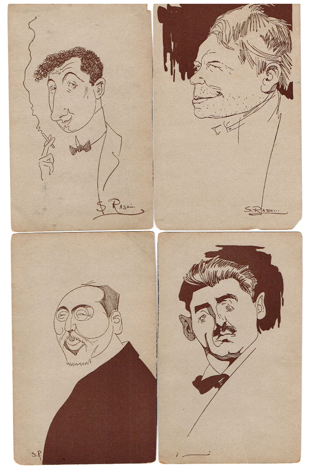 186. A Group of 11 Postcards of Prominent Jews Drawn by Saul Raskin