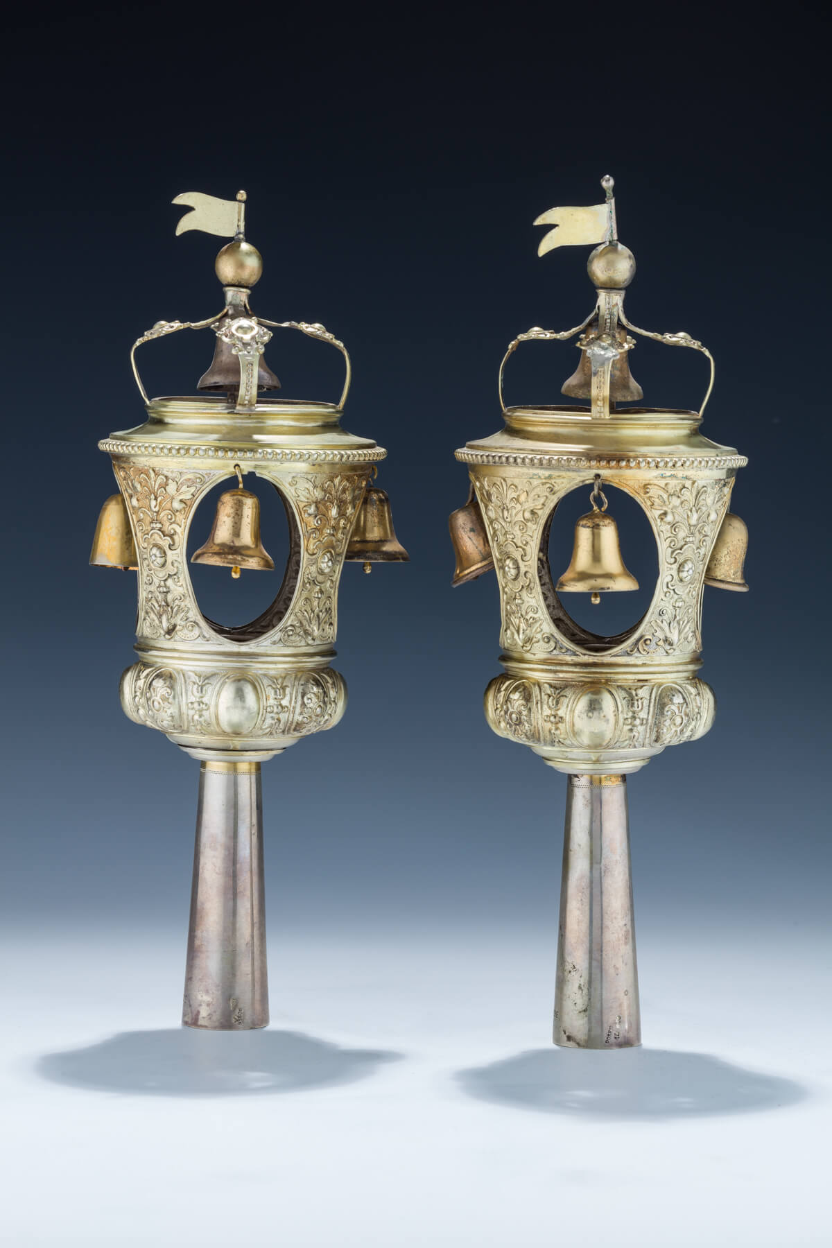 89. A Pair of Gilded Silver Torah Finials by Lazarus Posen