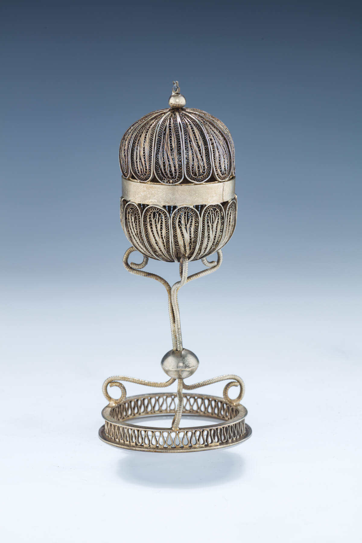 60. A Large Silver Filigree Spice Container