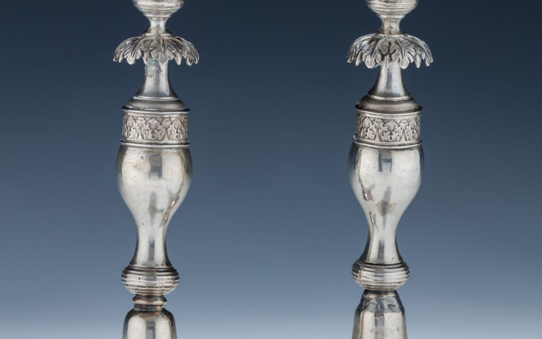 34. A Pair of Silver Candlesticks