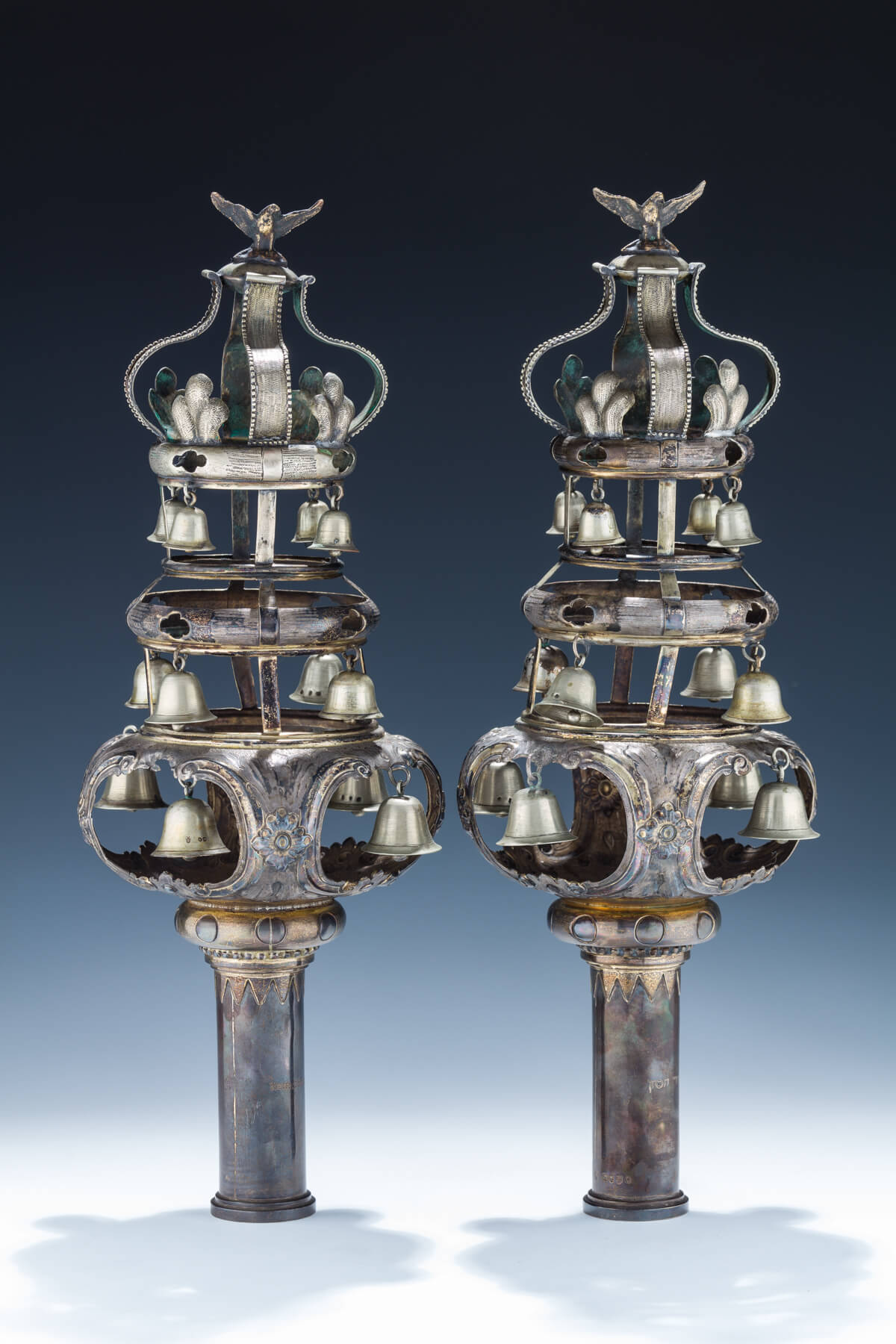 120. An Pair of Exceptional Sterling Silver Torah Finials by Edwin Charles Purdie