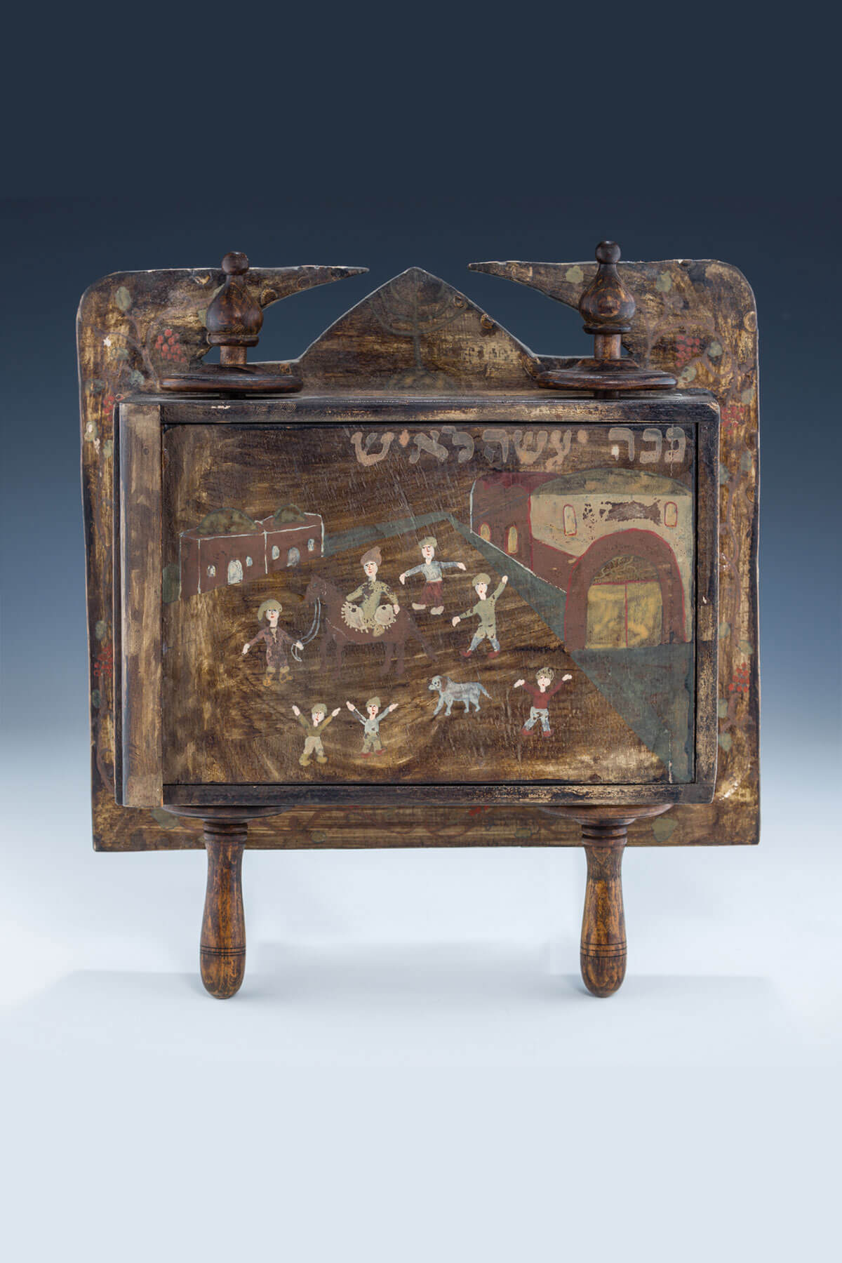 23. A Wooden Folk Art Megillah Case With Megillah