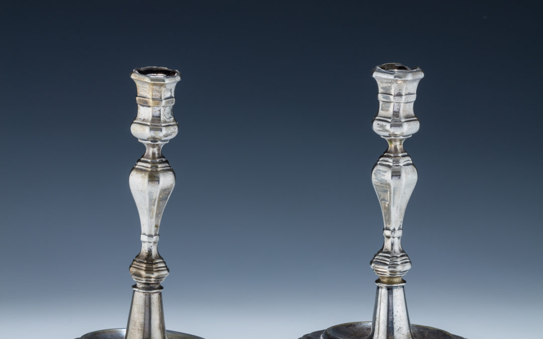124. An Exceptionally Rare Pair of Silver Candlesticks