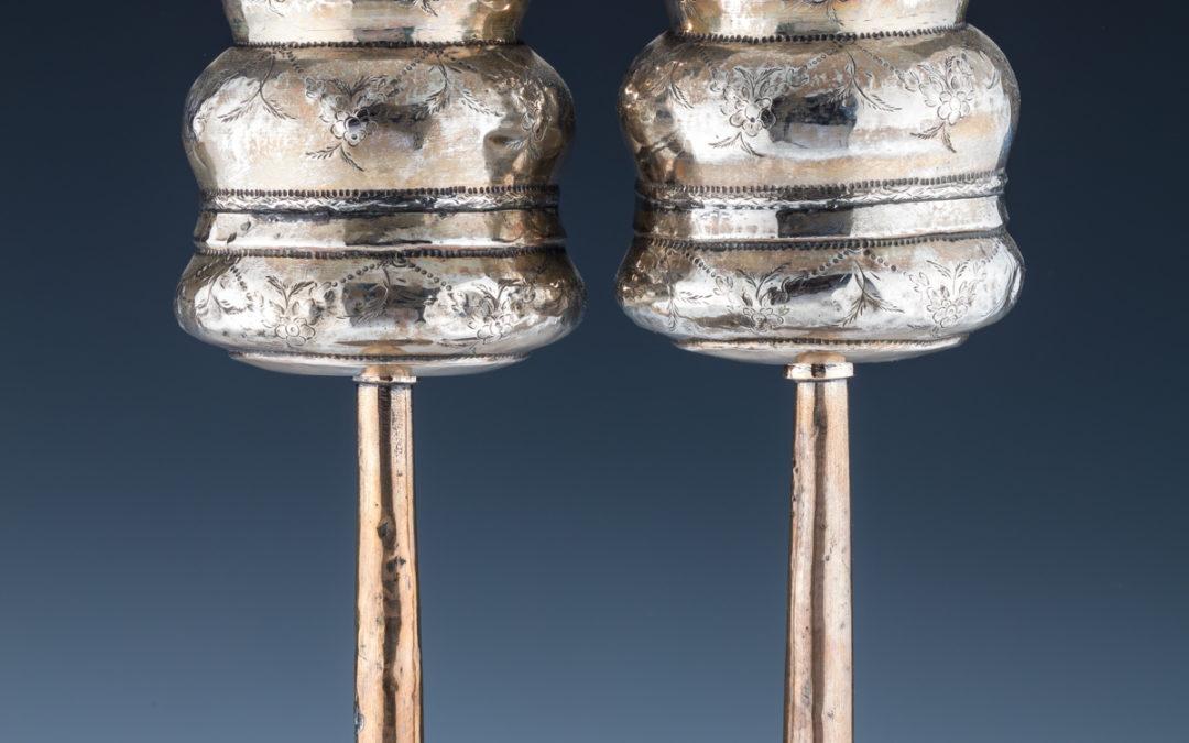 11. A Pair of Silver Torah Finials