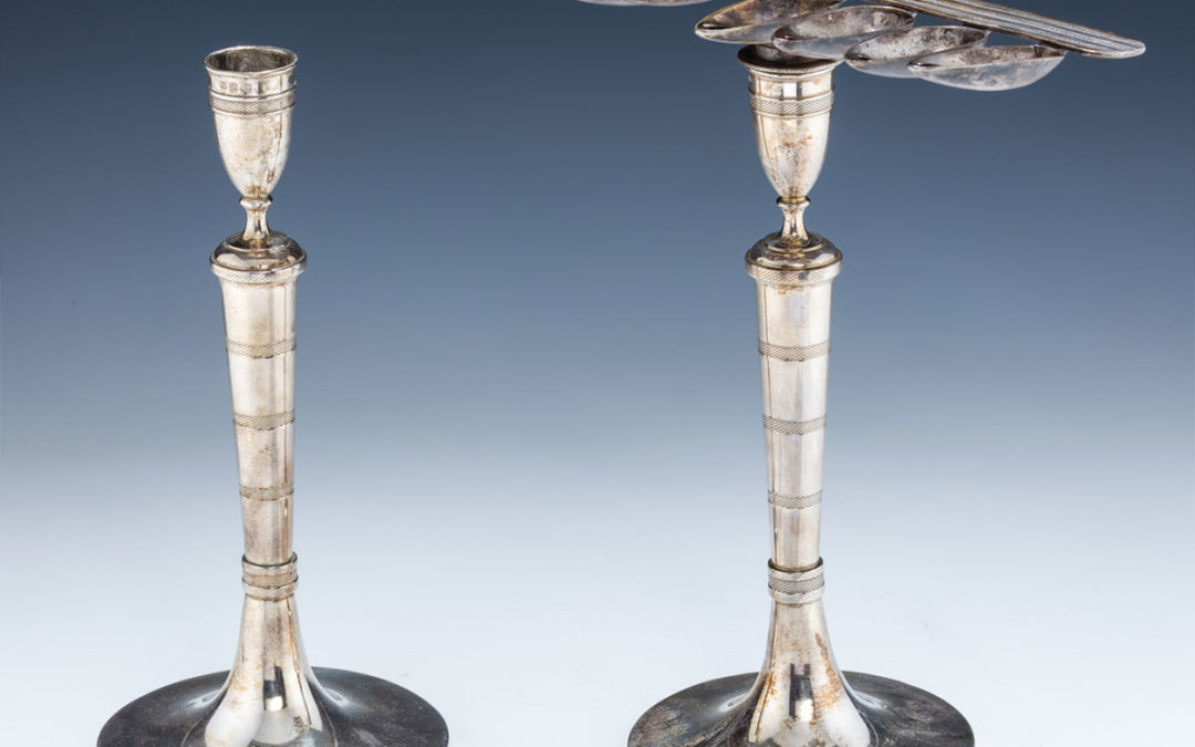 69. A Silver Chanukah Menorah Candlestick Combination