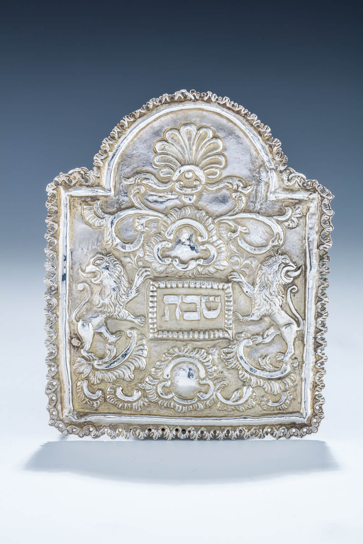 90. An Early Silver Torah Shield