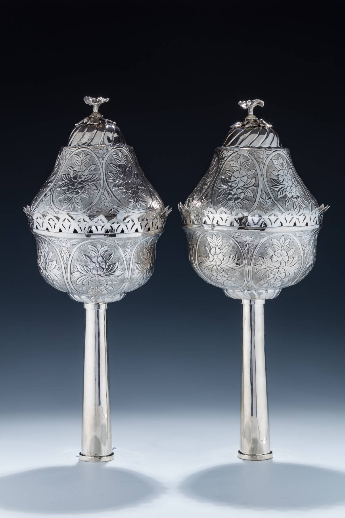 119. A Monumental Pair of Silver Torah Finials