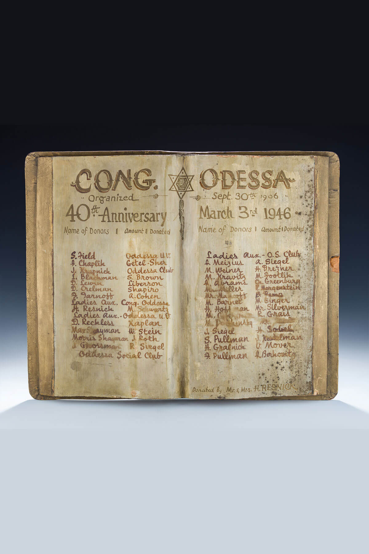 91. A Painted Wooden Donation Plaque for Congregation Odessa