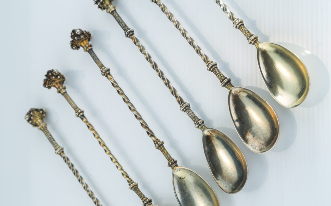 14. A Set of Six Matching Silver Spoons by Bezalel