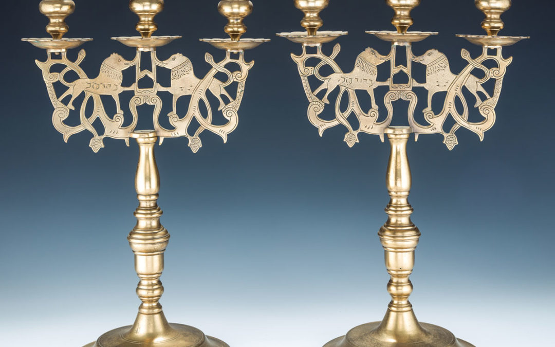 15. A Pair of Large Brass Sabbath Candelabras