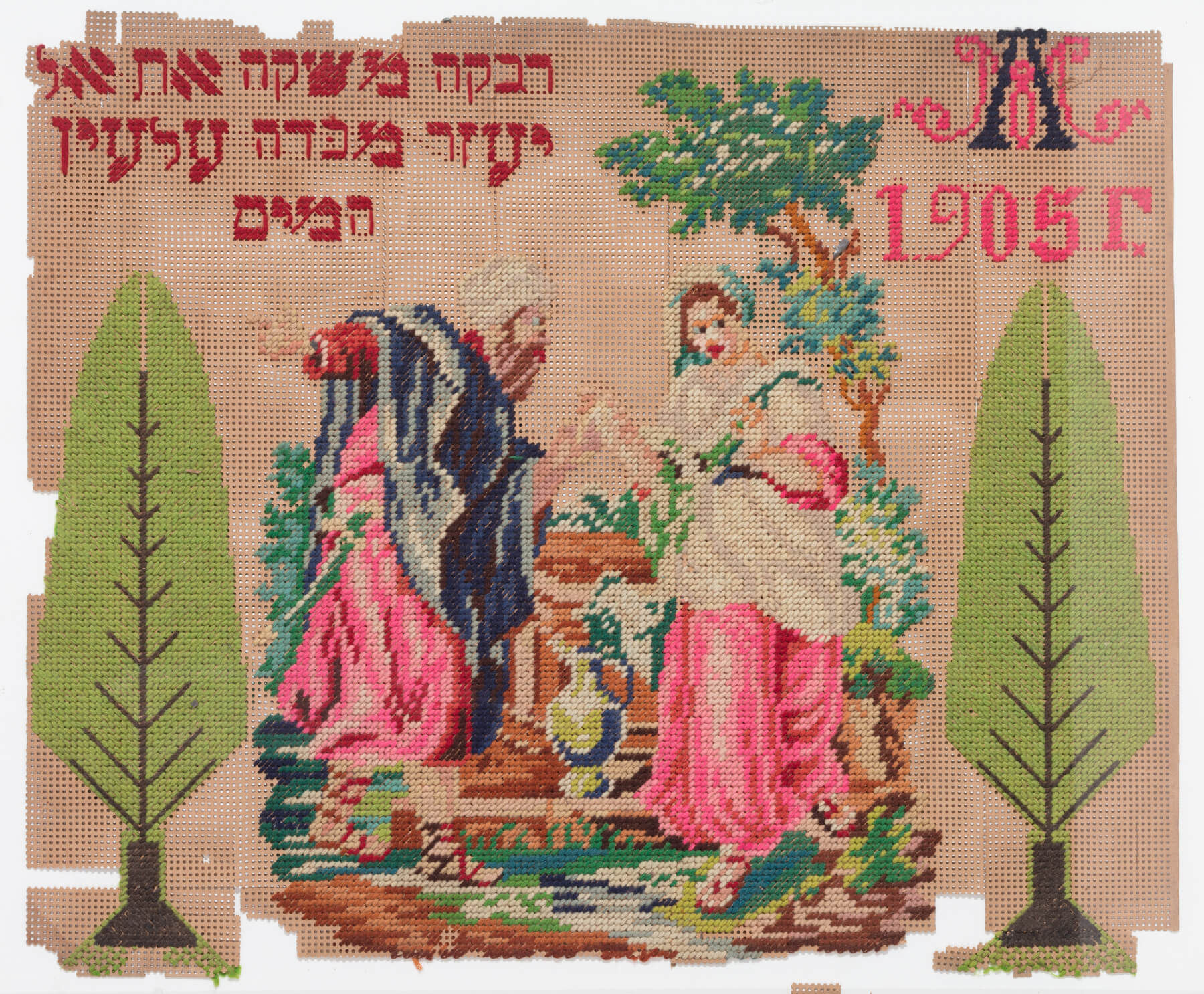137. A Needlepoint Of Rivkah And Eliezer