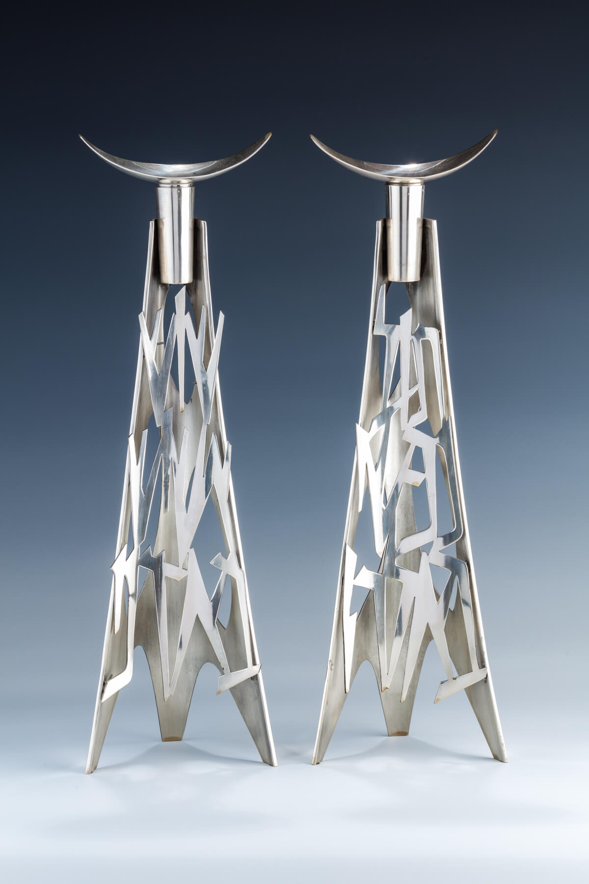 125. A Pair Of Sterling Silver Candlesticks By Wolpert