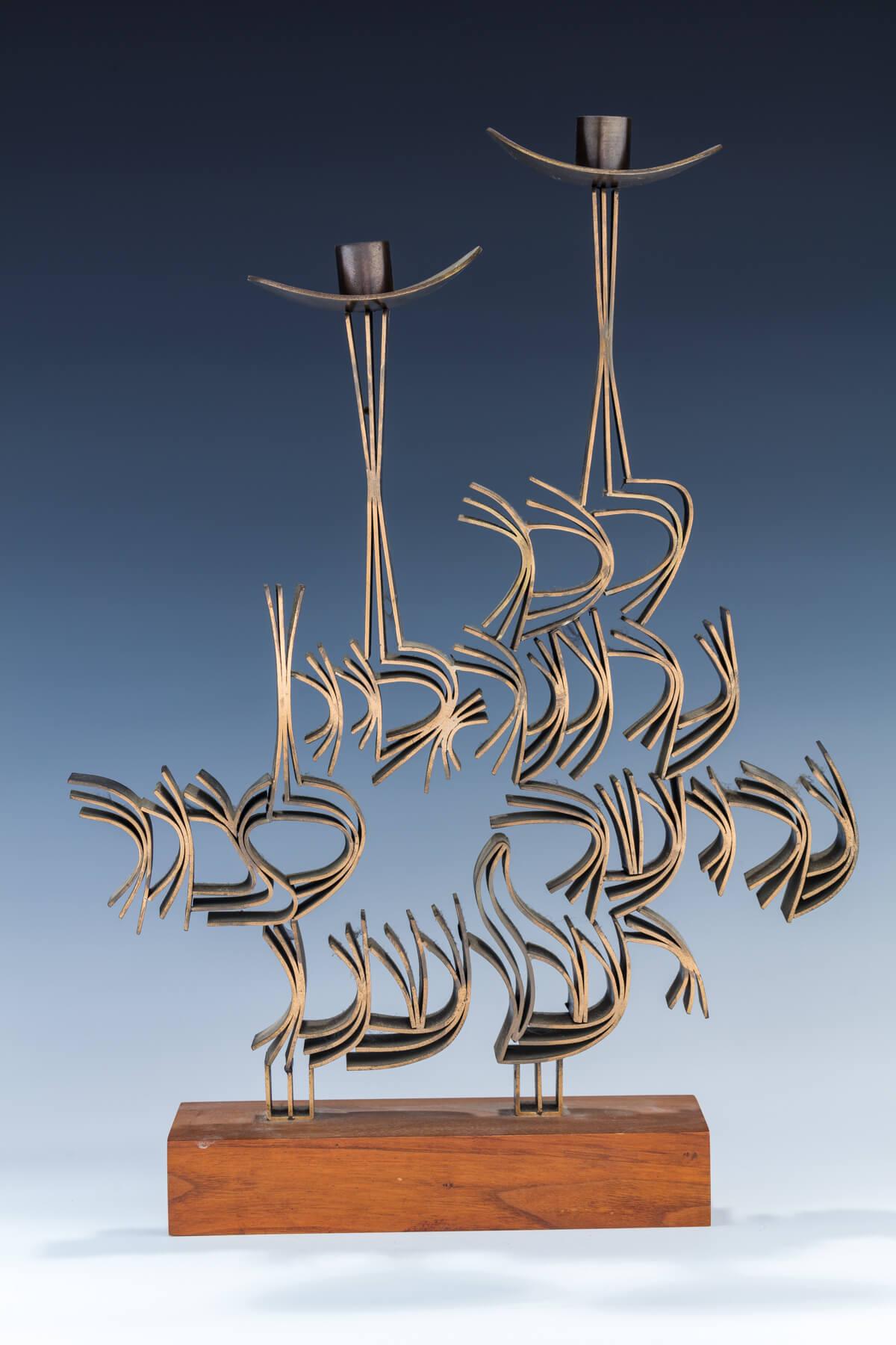 87. A Massive Bronze Sabbath Candlestick Sculpture By Ludwig Wolpert