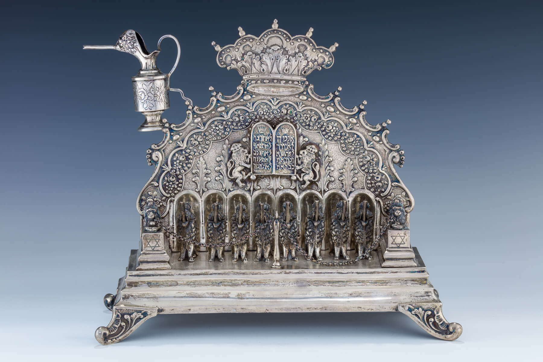 21. A Large Silver Chanukah Lamp
