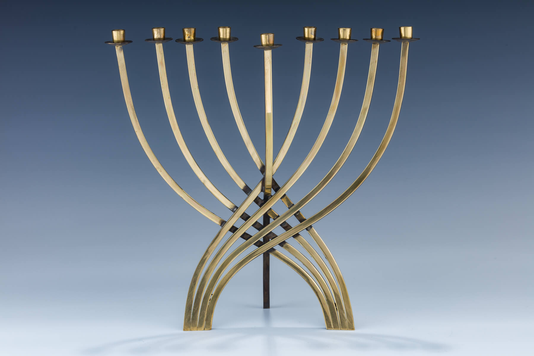 82. A Brass Hanukkah Menorah By Ludwig Wolpert