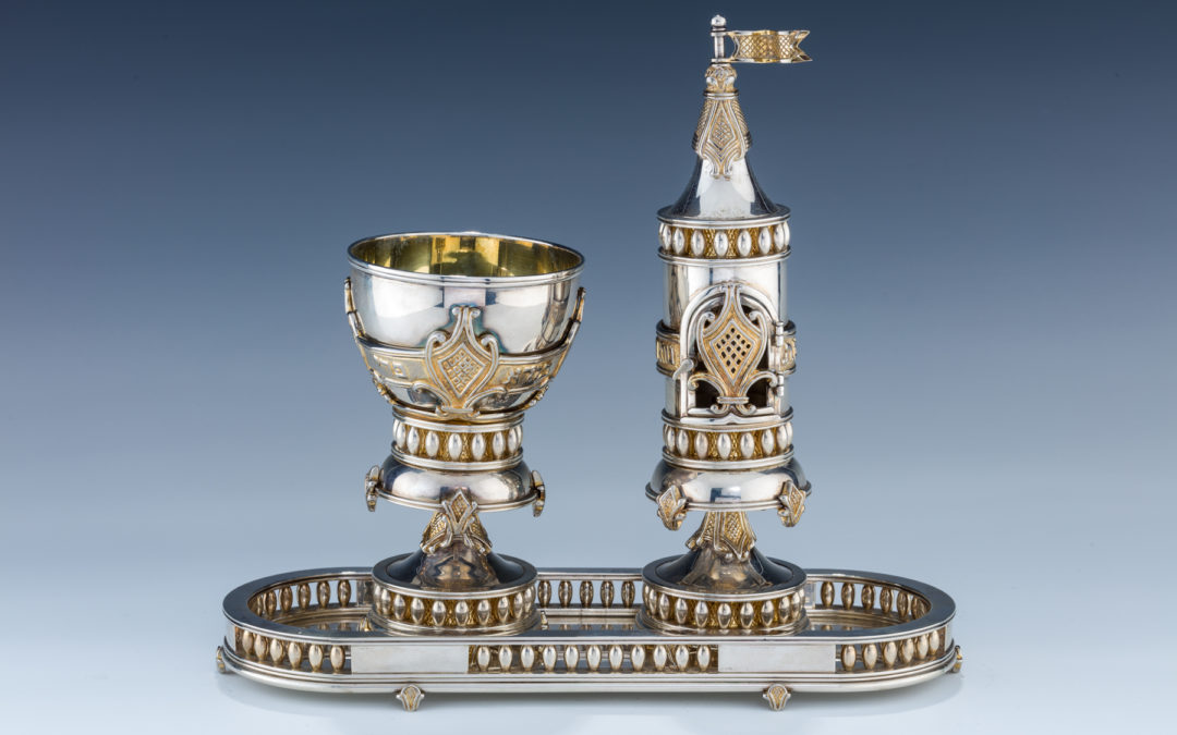 104. A Yossi Swed Partial Gilt Silver Havdalah Set. 20Th Century