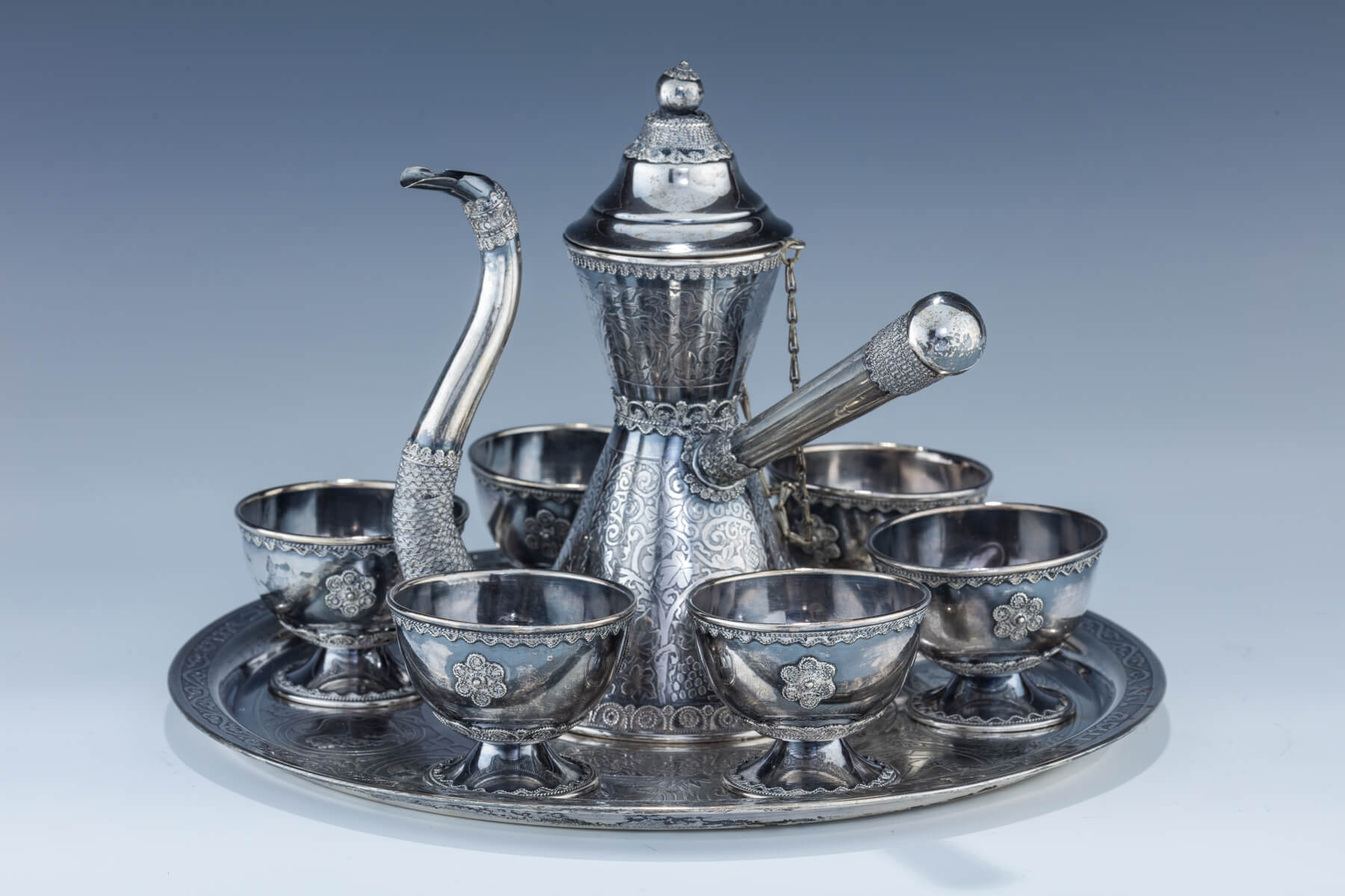 10. A Sterling Silver Finjon Set By Avishai/Bezalel