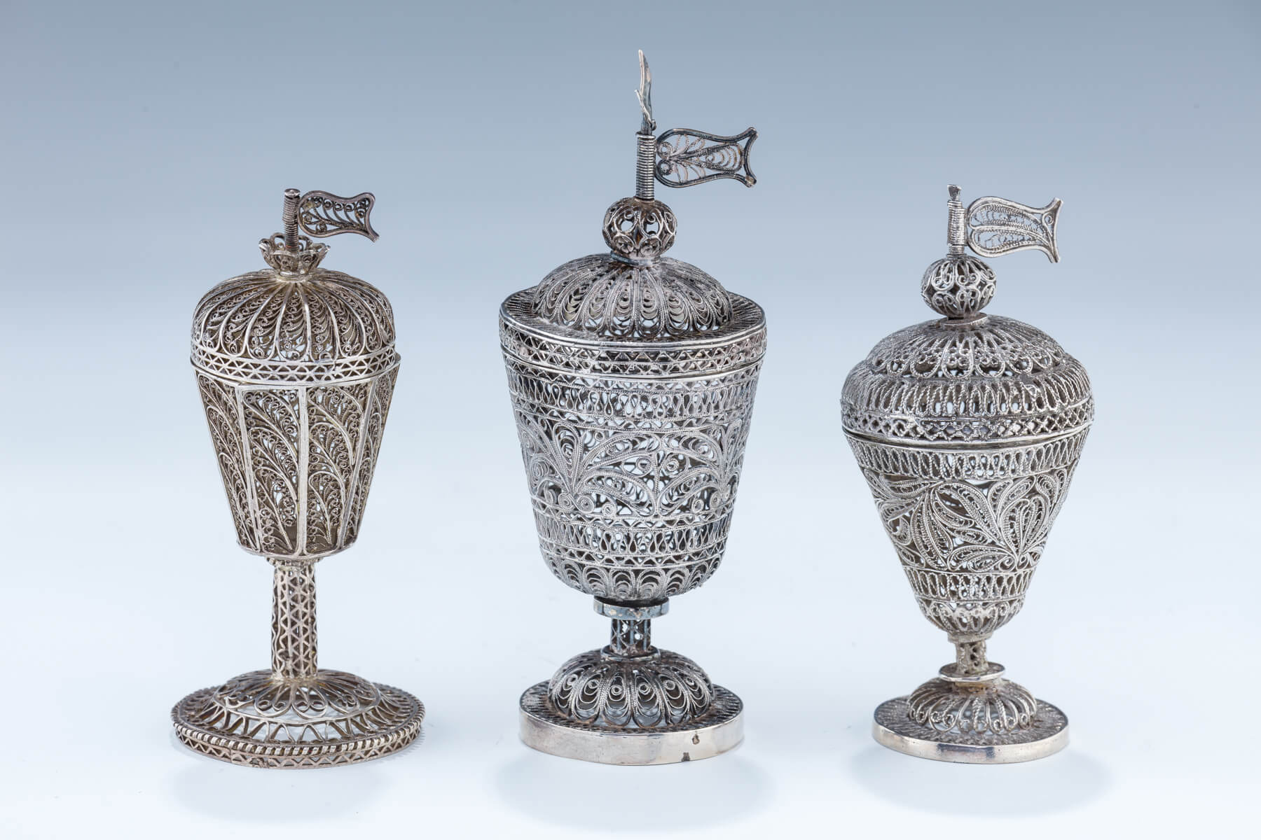 16. Three Silver Filigree Spice Containers