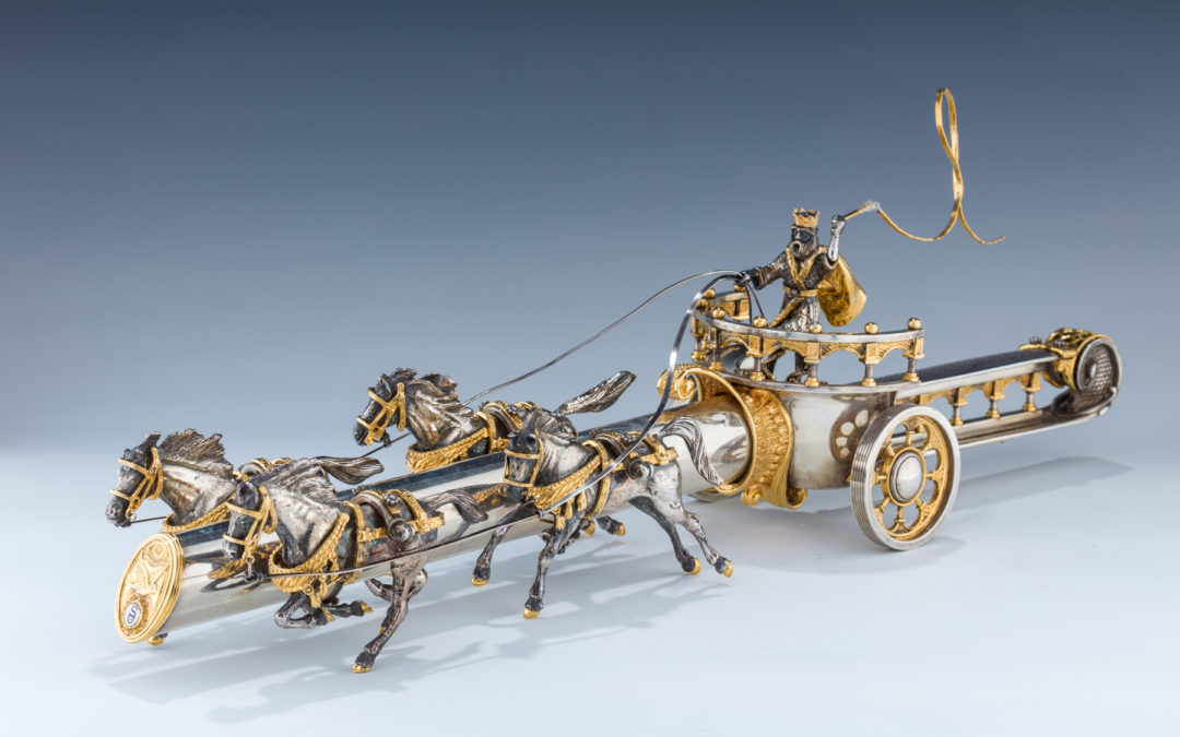 102. A Yossi Swed Partial Gilt Silver Chariot And Dagger, 20Th Century