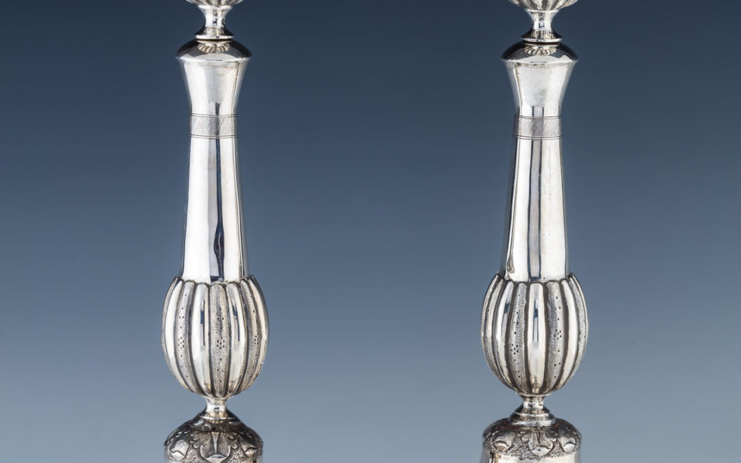 1. A Pair Of Exceptional Silver Sabbath Candlesticks By Alexander Fuld