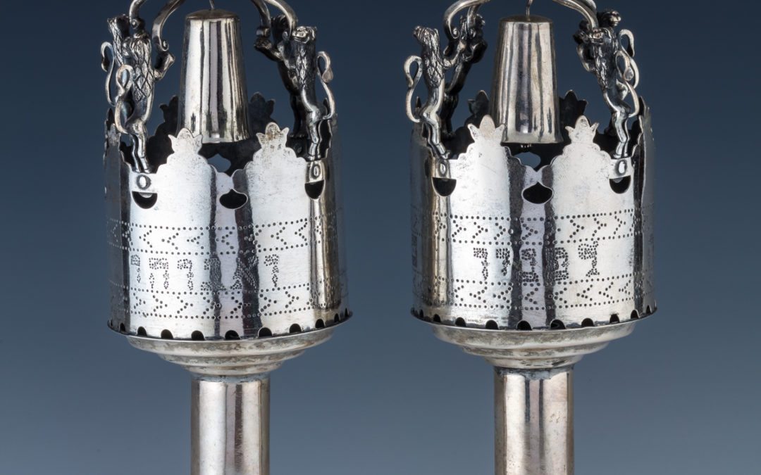 27. A Pair Of Large Silver Torah Finials